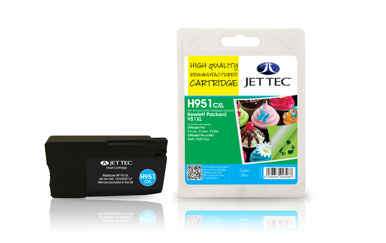 Jet Tec H951CXL remanufactured HP951XL CN046AE cyan ink cartridges