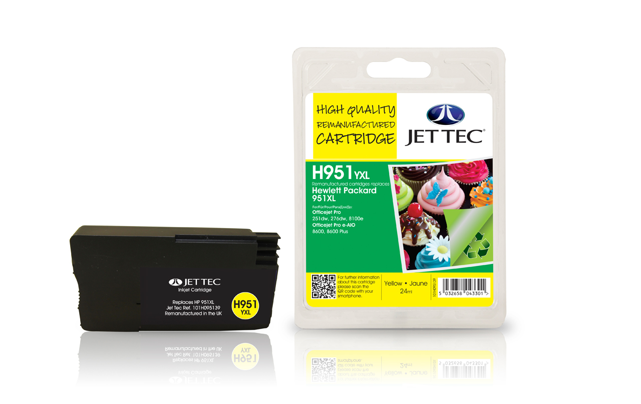 Jet Tec H951YXL remanufactured HP951XL CN048AE yellow ink cartridges
